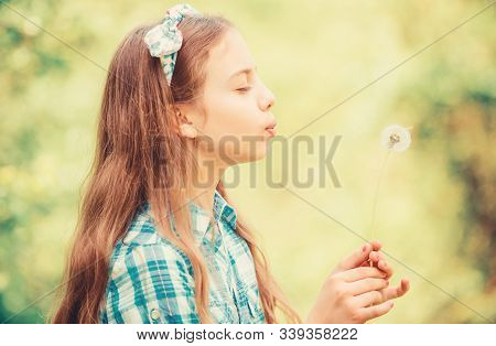 Dreams Come True. Dandelion Full Symbolism. Summertime Fun. Beliefs About Dandelion. Girl Making Wis