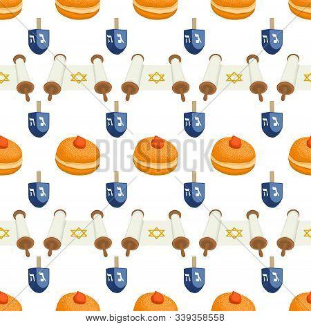 Illustration On Theme Big Colored Pattern Hanukkah, Seamless Tasty Donut. Seamless Pattern Consistin