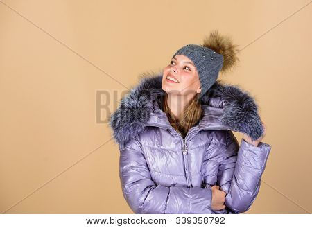 Fashion Coat And Hat. Fashion Trend. Faux Fur. Warming Up. Casual Winter Jacket Slightly More Stylis