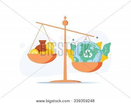 Scale With Wealth And Cash Money On A Plate And People World, Environment On The Other, Balancing Bu