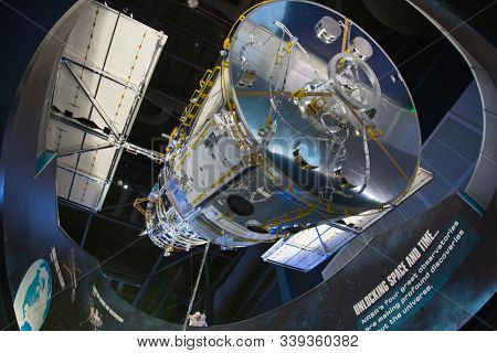 KENNEDY SPACE CENTER, FLORIDA, USA - DECEMBER 2, 2019: Space shuttle Atlantis exhibition at the visitor complex of Kennedy Space Center