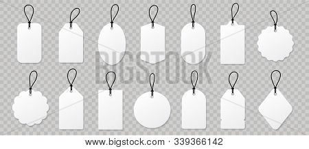 Set Blank White Paper Price Tags Or Gift Tags. Paper Labels With Cord. Set Template Shopping Labels