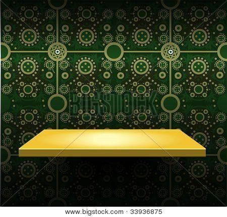Luxury Yellow Shelf On Green Wallpaper
