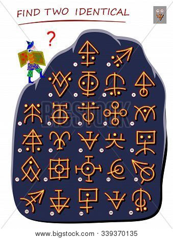 Logic Puzzle Game For Children And Adults. Help The Wizard Find 2 Identical Ancient Magic Signs. Pri
