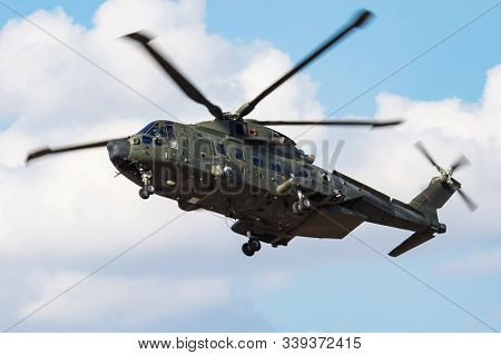 Fairford / United Kingdom - July 12, 2018: Royal Navy Eh-101 Merlin Hc3a Zk001 Helicopter Arrival Fo