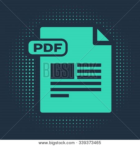 Green Pdf File Document. Download Pdf Button Icon Isolated On Blue Background. Pdf File Symbol. Abst