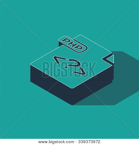 Isometric Php File Document. Download Php Button Icon Isolated On Green Background. Php File Symbol.