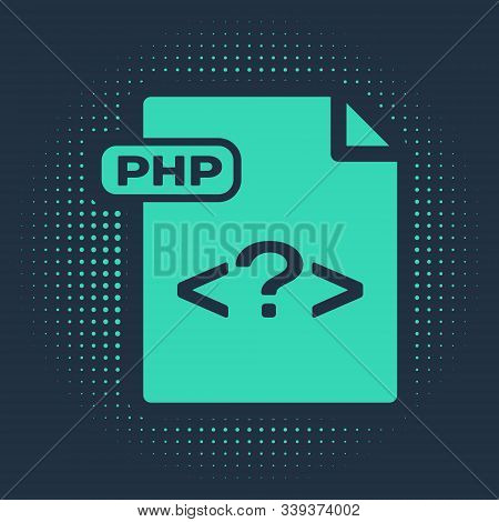 Green Php File Document. Download Php Button Icon Isolated On Blue Background. Php File Symbol. Abst