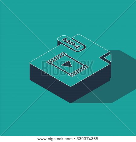 Isometric Mp4 File Document. Download Mp4 Button Icon Isolated On Green Background. Mp4 File Symbol.