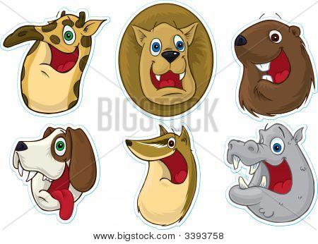 Smiling Face Fridge Magnet/Stickers  (Animals)