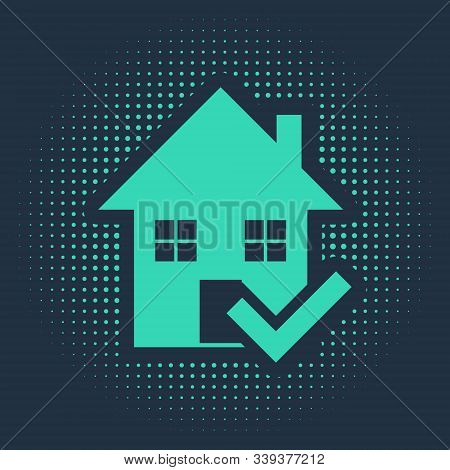 Green House With Check Mark Icon Isolated On Blue Background. Real Estate Agency Or Cottage Town Eli