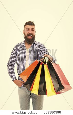 Safe Shopping. Consumer Protection Concept. Man Happy Consumer Hold Shopping Bags. Buy And Sell. Con