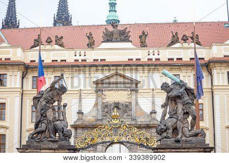 Entrance Gate To The Prague Castle (prazsky Hrad), With A Detail On The Statues Of The Wrestling Gia