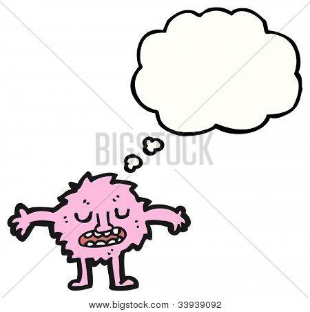 cartoon pink furry little monster poster