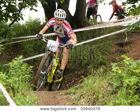 MOSCOW, RUSSIA - JUNE 7: Vera Andreeva (Russia) during the team relay of European Mountain Bike Cross-country Championship in Moscow, Russia at June 7, 2012.