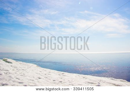 Beautiful Winter Landscape With Blocks Of Ice, Iceberg, Snows, Blue Sky, Horizon. Bay In The Winter.