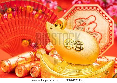 Tradition Chinese golden rat statue rat,2020 is year of the rat,Chinese characters on gold ingot translation: good bless for money.