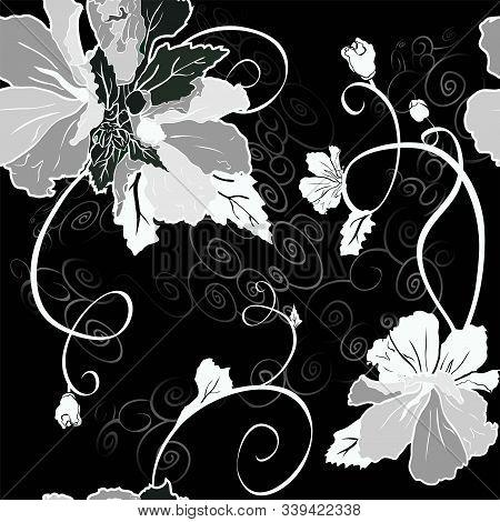 Mallow Flower Seamless Set Black, Grey And White Variant