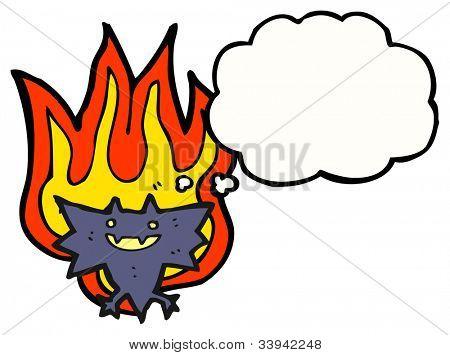 cartoon flaming vampire bat poster