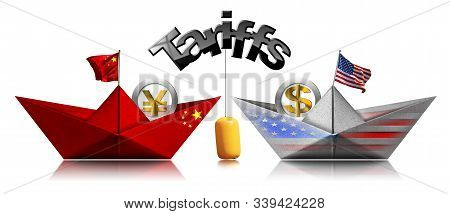 Usa And China Trade War Concept. Two Paper Boats With National Flags And Currency Symbols And Yellow