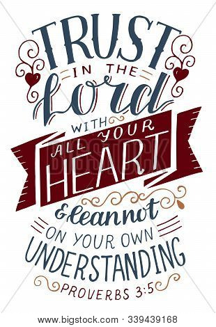 Hand Lettering With Bible Verse Trust In The Lord With All Your Heart .