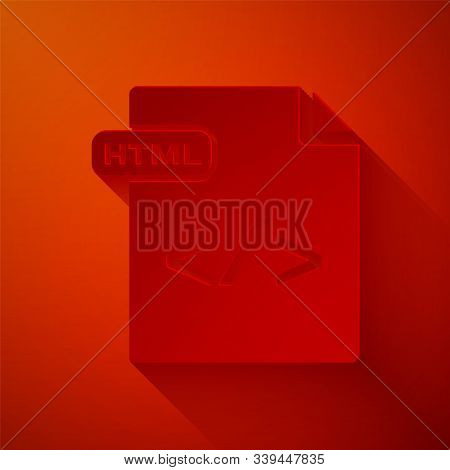 Paper Cut Html File Document. Download Html Button Icon Isolated On Red Background. Html File Symbol