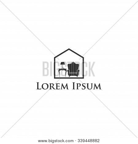 Minimalist Furniture Interior Silhouette Logo, Furniture Icon Isolated On White Background. Furnitur