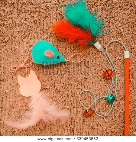 Cat Toys On Cat Scrather Background
