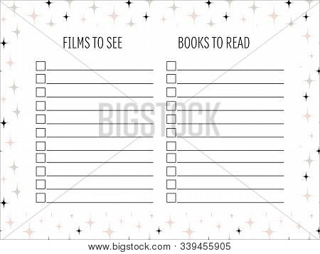Films And Books Lists With Hand Drawn Doodle Texture. To Do Lists. Template, Sample, Page Idea For B