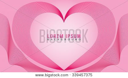 Lovable Heart Frame Concept, Beautiful Abstract Wave Line Background Design Template, Abstract Blend