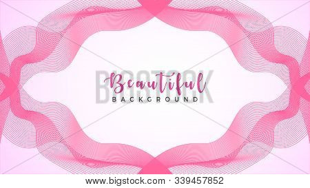 Lovable Decorative Ribbon, Pinky Spectrum Tape Frame Concept, Abstract Pink Wave Line Background Des
