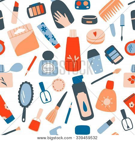 Cosmetic And Makeup Seamless Pattern. Cream Tube, Lipstick, Nail Polish, Mascara, Eye Shadows, Brush