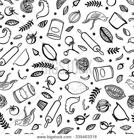 Hand Drawn Kitchen Utensil Food Pattern. Seamless Vector Background. Black And White Kitchen Utensil