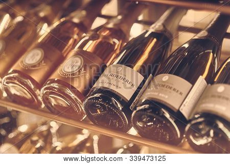 Paris, France - Dec 2019: Mood Shot Of Champagne Sparkling Wine Louis Roederer Brut Premier And Cris
