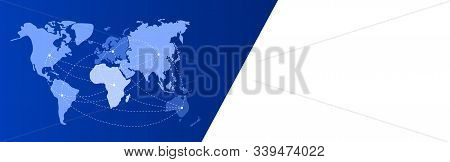 Blue-white Banner. World Map With Continents On Blue. North And South America, Europe, Africa, Asia,