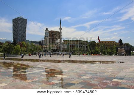 Tirana, Albania- June 11, 2019: The Skanderbeg Square City Center Of Albanian Capital, People Walkin