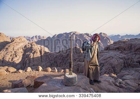 Mount Sinai, Sharm Ash Sheikh, Egypt - 25 October 2017. Old Resident Of The Sinai Peninsula. Bedouin