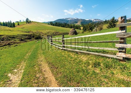 Transcarpathian Rural Scenery In Springtime. Haystack Behind The Wooden Fence On The Grassy Meadow.