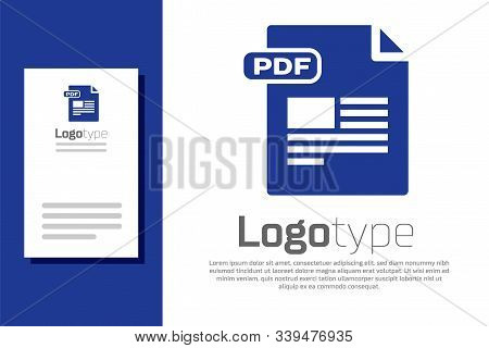 Blue Pdf File Document. Download Pdf Button Icon Isolated On White Background. Pdf File Symbol. Logo