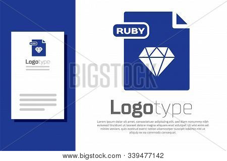 Blue Ruby File Document. Download Ruby Button Icon Isolated On White Background. Ruby File Symbol. L