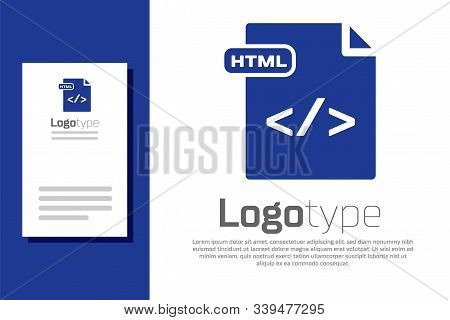 Blue Html File Document. Download Html Button Icon Isolated On White Background. Html File Symbol. M