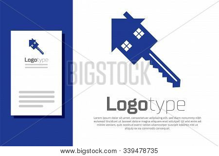 Blue House With Key Icon Isolated On White Background. The Concept Of The House Turnkey. Logo Design