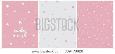 Make A Wish.lovely Nusery Art With White Hand Drawn Twinkle Stars Isolated On A Pink Background. Pin