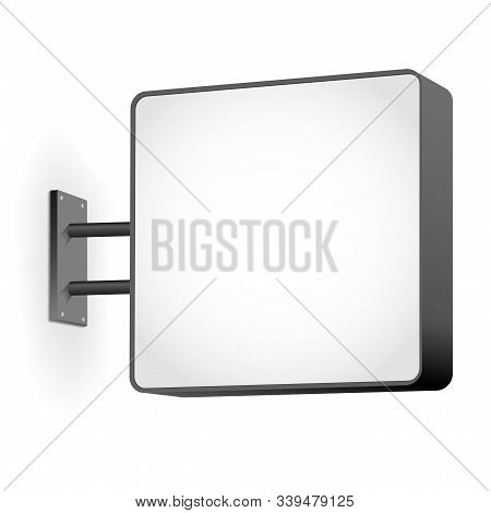 Street Sign Hanging Mounted On Wall - Empty Space For Your Design. Vector Illustration.