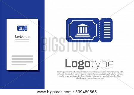 Blue Museum Ticket Icon Isolated On White Background. History Museum Ticket Coupon Event Admit Exhib