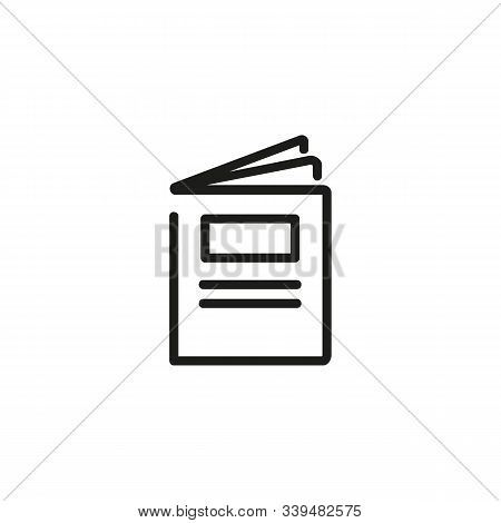 Brochure Thin Line Icon. Book, Leaflet Isolated Outline Sign. Booklet Concept. Vector Illustration S