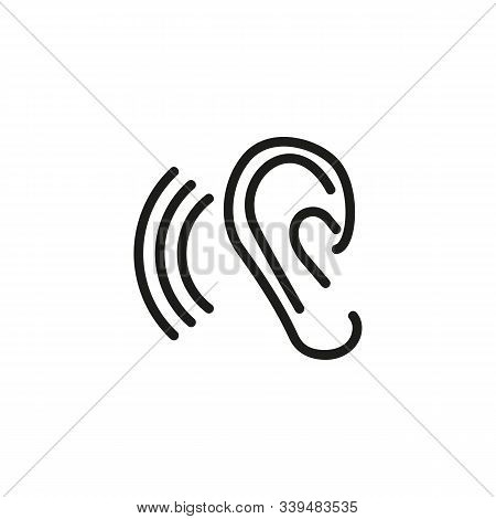 Tinnitus Thin Line Icon. Ear And Sound Waves Isolated Outline Sign. Ear Disease Concept. Vector Illu
