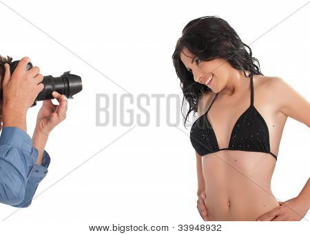 Photographer Taking Pictures Of A Model