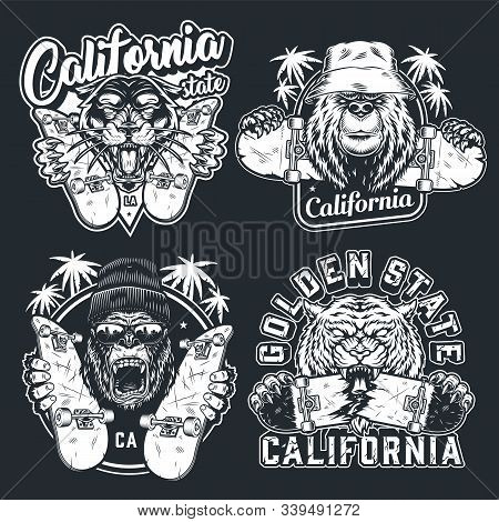 Vintage Skateboarding Logotypes With Inscriptions Palm Trees Ferocious Cruel Angry Animals And Skate