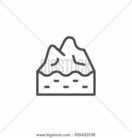 Iceberg Top Line Outline Icon Isolated On White. Underwater Glacier. Ice Peak. Hidden Under Water. V